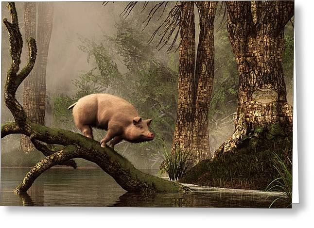 The Lost Pig Greeting Card by Daniel Eskridge