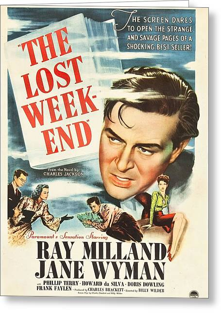 1940s Movies Greeting Cards - The Lost Weekend -  Greeting Card by Nomad Art And  Design