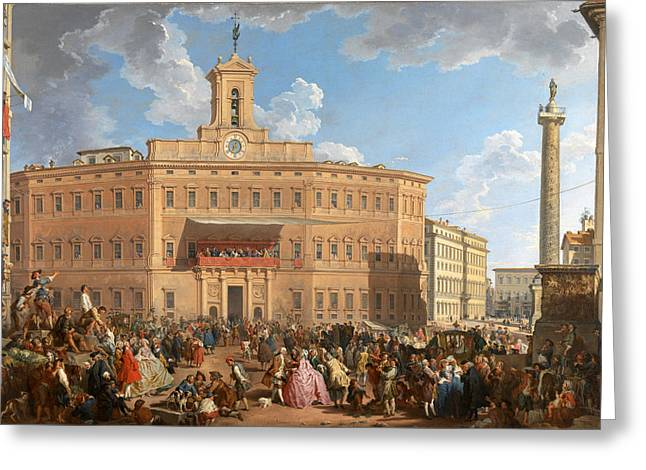 Giovanni Paolo Panini Greeting Cards - The Lottery in Piazza di Montecitorio Greeting Card by Giovanni Paolo Panini