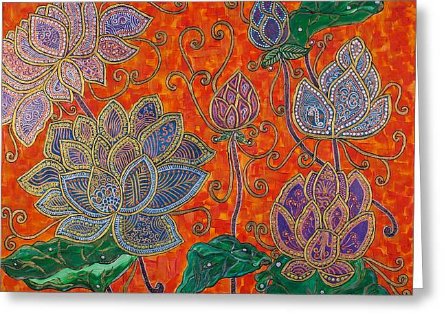 Religious Paintings Greeting Cards - The Lotus Bloom Greeting Card by Anannya Chowdhury