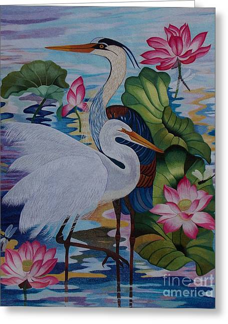 Totam Tapestries - Textiles Greeting Cards - The Lotus Pond hand embroidery Greeting Card by To-Tam Gerwe