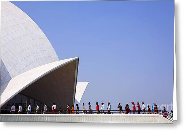 Bahai Greeting Cards - The Lotus Temple Delhi Greeting Card by Robert Preston