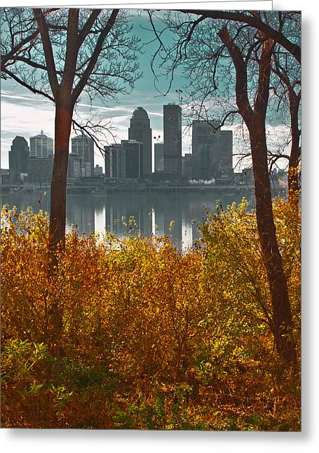 Indiana Rivers Digital Greeting Cards - The Louisville Skyline Greeting Card by Sid Webb