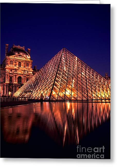 Glass Building Greeting Cards - The Louvre At Night Greeting Card by Bill Bachmann