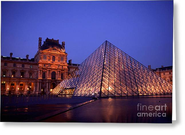 Glass Building Greeting Cards - The Louvre Greeting Card by Bill Bachmann