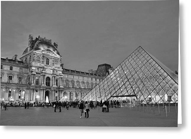Most Visited Greeting Cards - The Louvre Black and White Greeting Card by Allen Beatty