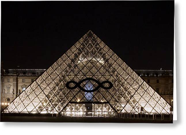People Pyrography Greeting Cards - The Louvre by night 2 Greeting Card by Jeroen Schaaphok