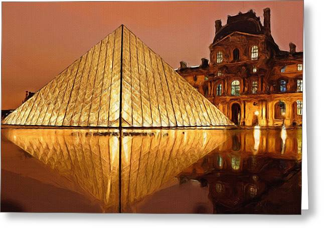 Calm Water Reflection Greeting Cards - The Louvre by Night Greeting Card by Ayse Deniz