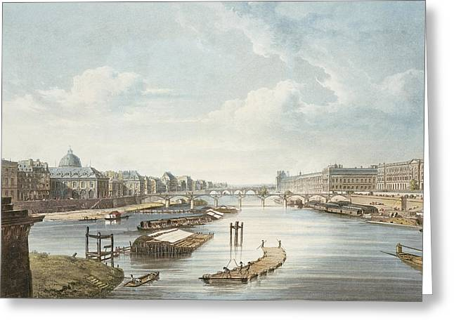 River View Greeting Cards - The Louvre, From Views On The Seine Greeting Card by Augustus Charles Pugin