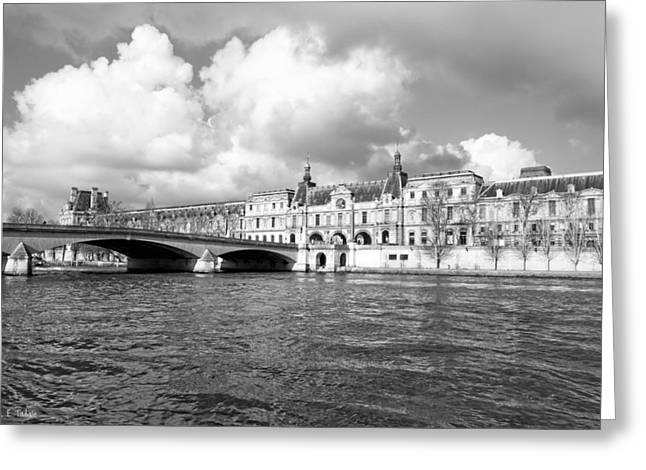 French Renaissance Greeting Cards - The Louvre Palace Overlooking The River Seine Greeting Card by Mark Tisdale
