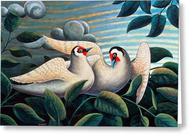 Court Greeting Cards - The Love Birds Greeting Card by Jerzy Marek