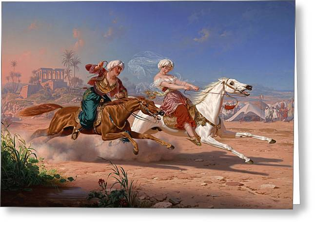 Charles Nahl Greeting Cards - The Love Chase Greeting Card by Charles Christian Nahl