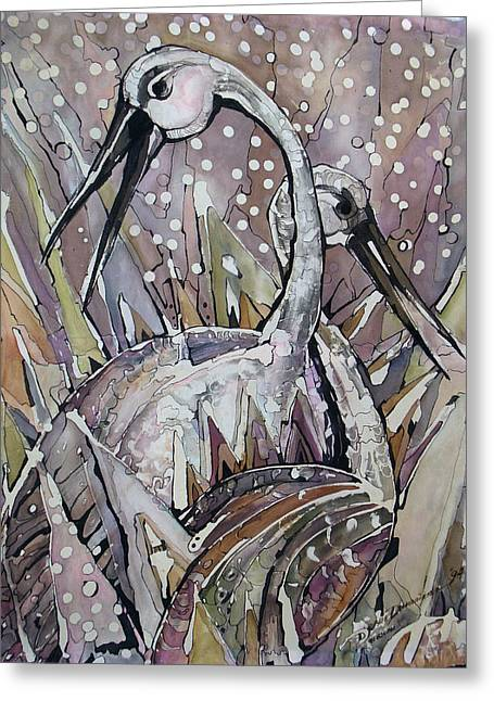 Beige Abstract Drawings Greeting Cards - The Love dance of Ibises Greeting Card by Deyana Deco