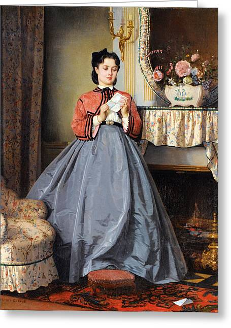 The Love Letter Greeting Cards - The Love Letter Greeting Card by Auguste Toulmouche