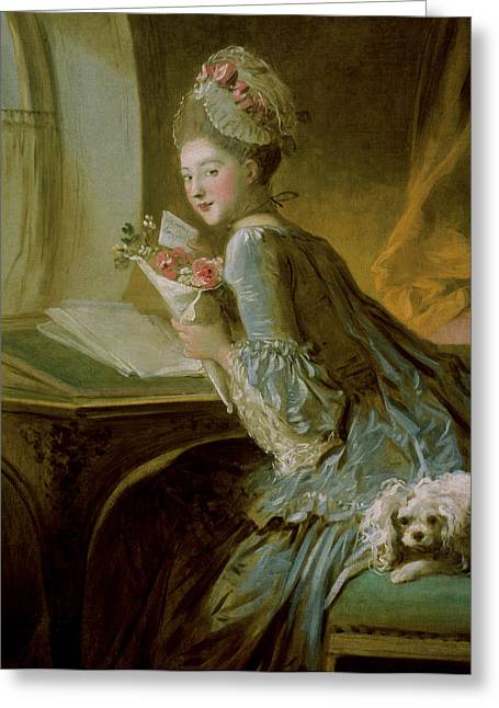 Domestic Pets Greeting Cards - The Love Letter Greeting Card by Jean Honore Fragonard
