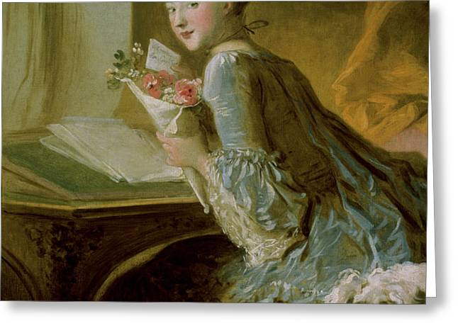 The Love Letter Greeting Card by Jean Honore Fragonard
