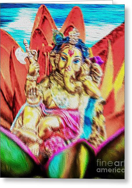 Hindu Goddess Digital Greeting Cards - The Love of Ganesh Greeting Card by Tarik Eltawil