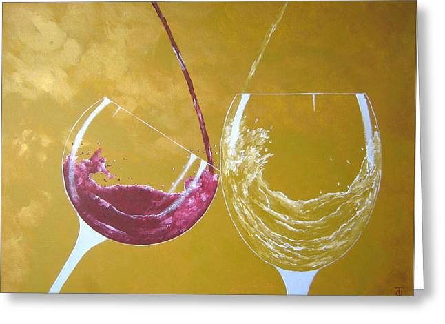 Wine Pour Greeting Cards - The Love Of Wine Greeting Card by Owen Jones