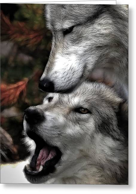 Brush Wolf Greeting Cards - The Love Of Your Mate Greeting Card by Athena Mckinzie