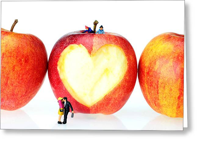 Creative People Greeting Cards - The Lovers In Valentines Day little people on food Greeting Card by Paul Ge