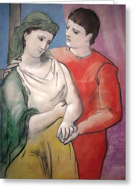 Pablo Picasso Greeting Cards - The Lovers Greeting Card by Pablo Picasso