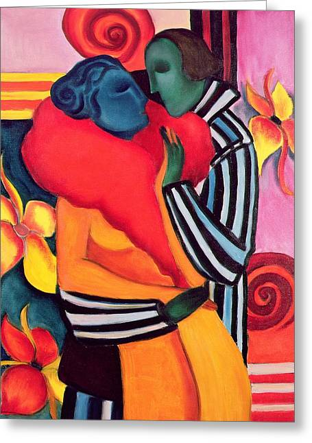 Stylish Paintings Greeting Cards - The Lovers Greeting Card by Sabina Nedelcheva Williams