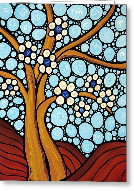 Mosaic Paintings Greeting Cards - The Loving Tree Greeting Card by Sharon Cummings