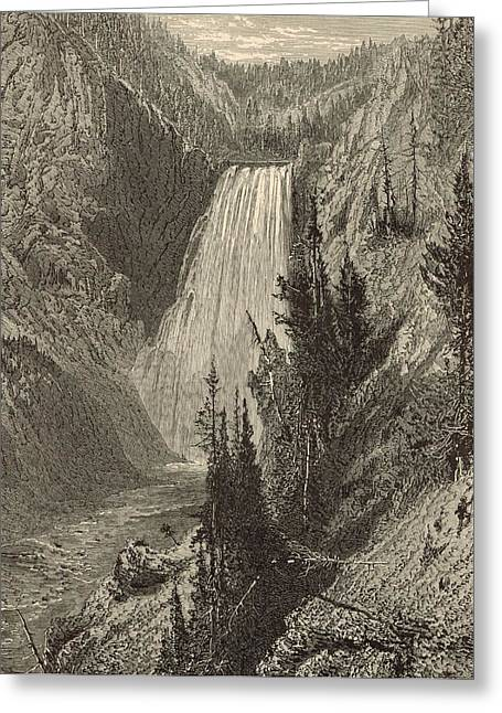 The Grand Canyon Drawings Greeting Cards - The Lower Falls of the Yellowstone River Greeting Card by Antique Engravings