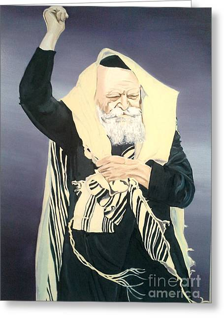 Lubavitcher Greeting Cards - The Lubavitcher Rebbe Farbrengs Greeting Card by Elana Cohen