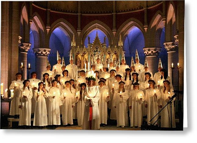 Maiden Greeting Cards - The Lucia day in Sweden Greeting Card by Gun Legler