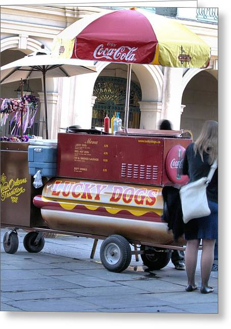 Lucky Dogs Greeting Cards - The Luck Dog Cart Greeting Card by Anthony Walker Sr