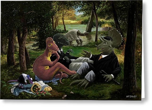 The Luncheon On The Grass With Dinosaurs Greeting Card by Martin Davey