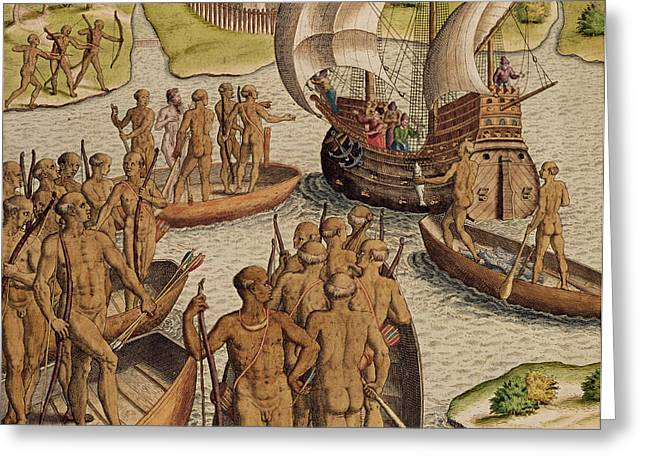 Canoe Photographs Greeting Cards - The Lusitanians Send A Second Boat Towards Me, From Americae Tertia Pars..., 1592 Coloured Engraving Greeting Card by Theodore de Bry