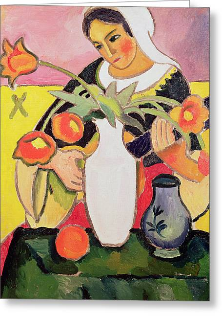 Luth Greeting Cards - The Lute Player Greeting Card by August Macke