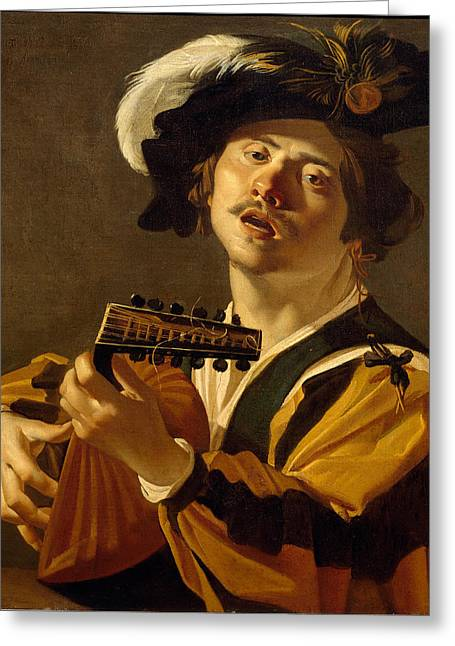Lute Paintings Greeting Cards - The Lute Player Greeting Card by Dirck van Baburen