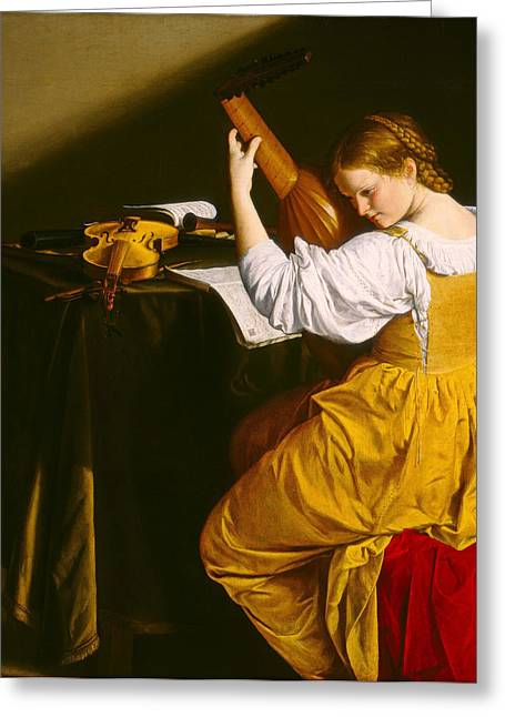 Lute Paintings Greeting Cards - The Lute Player Greeting Card by Orazio Gentileschi