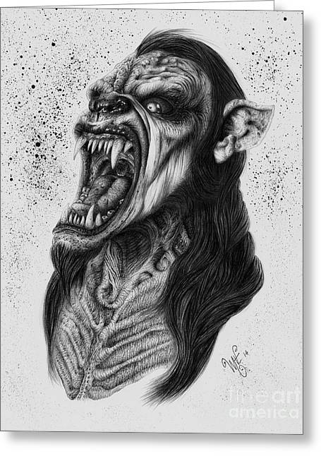 Wave Art Drawings Greeting Cards - The Lycanthrope Greeting Card by Wave