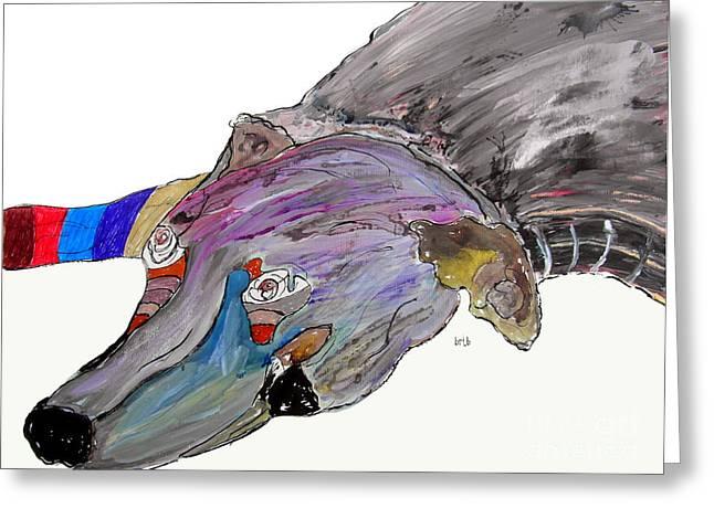 Greyhound Dog Paintings Greeting Cards - The Lying Greyhound Greeting Card by Bri Buckley