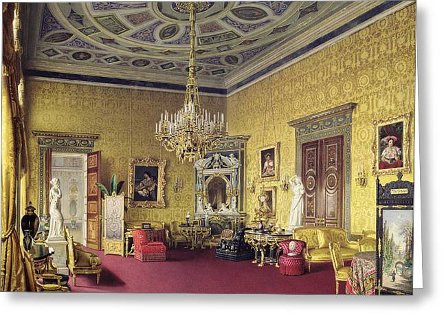 Russian Photographs Greeting Cards - The Lyons Hall In The Catherine Palace At Tsarskoye Selo, 1859 Wc On Paper Greeting Card by Luigi Premazzi