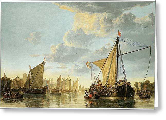 Sailboats In Harbor Paintings Greeting Cards - The Maas at Dordrecht Greeting Card by Aelbert Cuyp