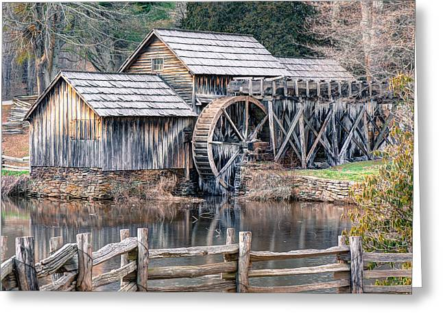 Mills Greeting Cards - The Mabry Mill - Blue Ridge Parkway - Virginia Greeting Card by Gregory Ballos