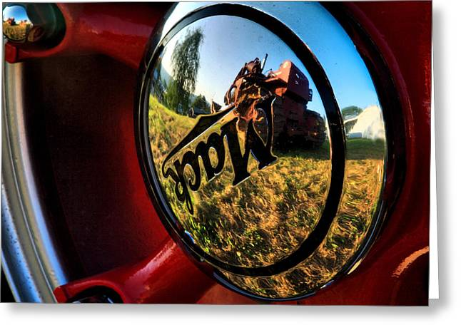 Hubcap Greeting Cards - The Mack Truck Greeting Card by Linda Unger