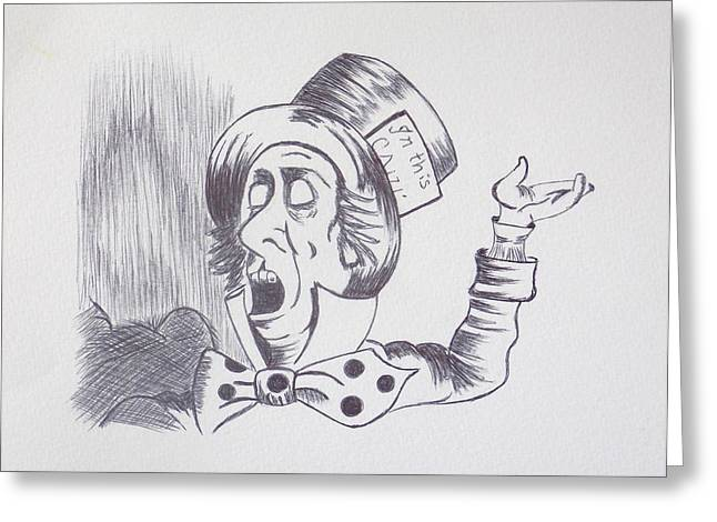 The Mad Hatter 1865 of Alice in Wonderland  Greeting Card by J D  Fields