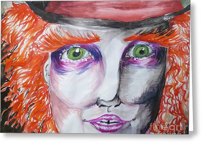Mad Hatter Paintings Greeting Cards - The Mad Hatter Greeting Card by Isobelle Rothery-Smith