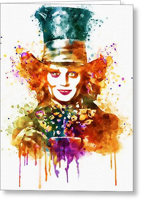 Mad Hatter Digital Art Greeting Cards - The Mad Hatter watercolor Greeting Card by Marian Voicu