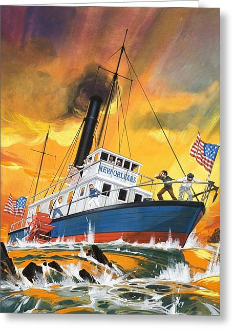 Nicholas Greeting Cards - The Madmen of the Mississippi Greeting Card by English School