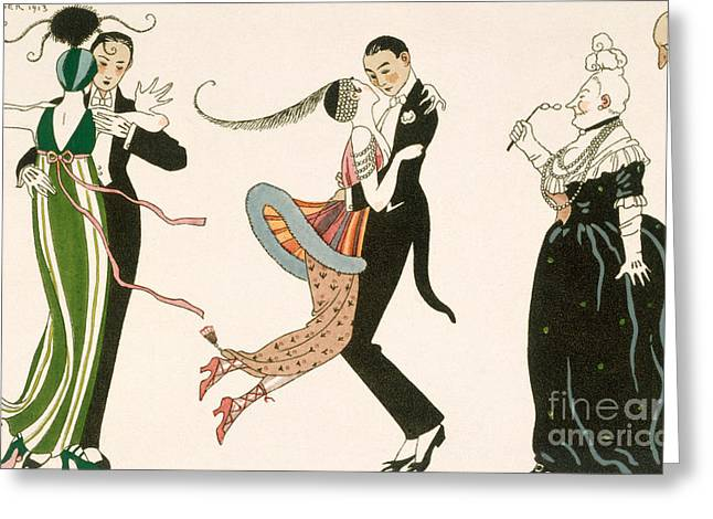 Long Gloves Greeting Cards - The Madness of the Day Greeting Card by Georges Barbier