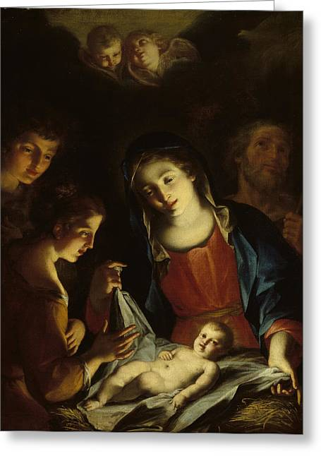 Virgin Mary Greeting Cards - The Madonna Adoring The Infant Christ Greeting Card by Pietro Antonio Rotari
