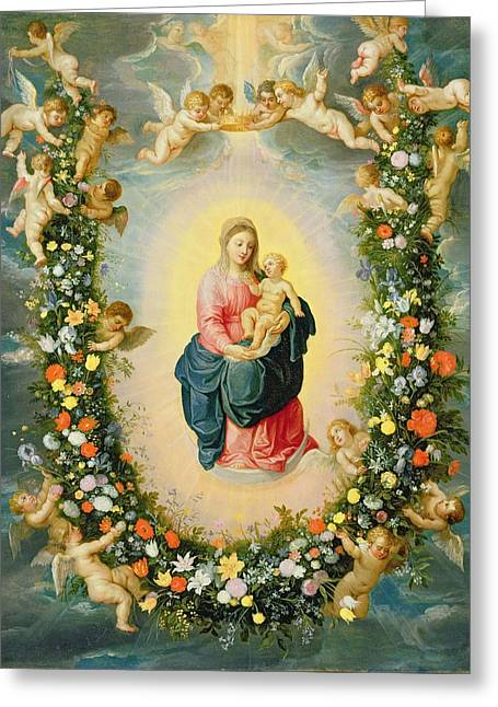 Moon Flower Greeting Cards - The Madonna And Child In A Floral Greeting Card by Jan & Balen, Hendrik van Brueghel