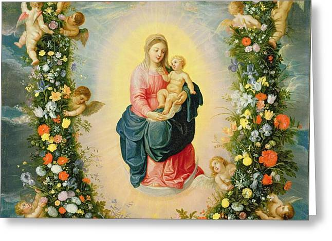 The Madonna And Child In A Floral Greeting Card by Jan & Balen, Hendrik van Brueghel